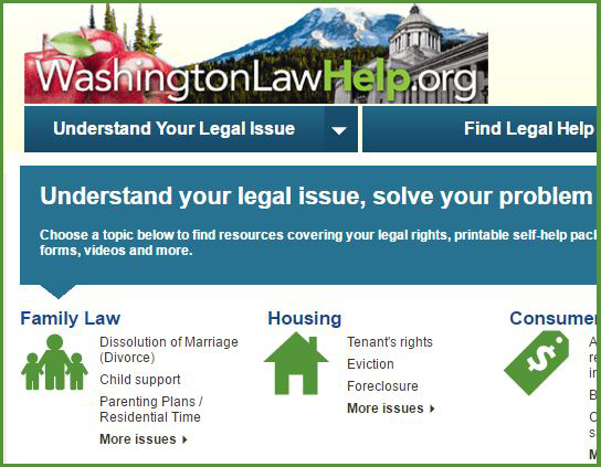 WashingtonlawhelpOrg  Free Legal Information And SelfHelp